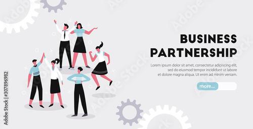 Business Partnership Horizontal Banner Canvas Print