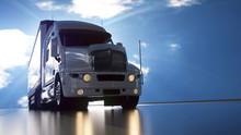 Delivery Truck On Asphalt Road...