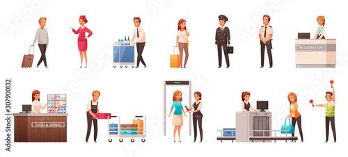 Airport Cartoon Icons Set Canvas Print