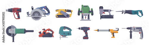 Foto Vector power tool set. Isolated electric tools. Flat illustration