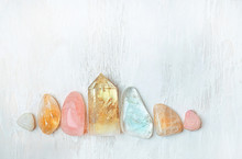 Set Gemstones Crystal Minerals For Relaxation And Meditation. Magic Rock Crystal For Crystal Ritual, Witchcraft,  Relaxing Chakra, Aura Readings. Flat Lay, Copy Space