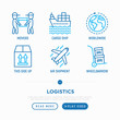 Logistics thin line icons set: container, cargo ship, cargo airplane, cardboard box, movers, worldwide shipping, this side up, hand-truck. Vector illustration.