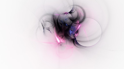 Abstract blue and rose glowing shapes. Fantasy light background. Digital fractal art. 3d rendering.