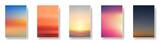 Zestaw kolorowe morze zachód i wschód słońca. Niewyraźne nowoczesne karty papieru w tle siatki gradientu.