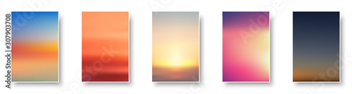 Set of colorful sunset and sunrise sea. Blurred modern gradient mesh background paper cards. - fototapety na wymiar