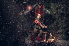 Little Christmas Gnome In A Re...