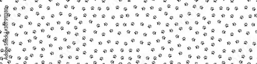 obraz lub plakat Pet paw print seamless pattern. Abstract animal vector background.