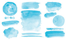 Blue Watercolor Stains Set Of Brush Strokes Invitation Design