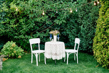 Small White Table With Two Cha...