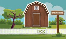 Countryside Wooden Farm House Vector