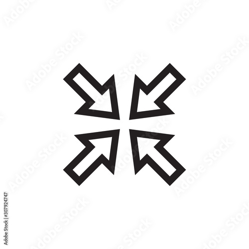 Valokuva Arrow fat shrink icon vector isolated on background