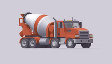 Vector Concrete Mixer Truck. Isolated American Cement Truck. Flat Illustration