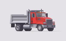Vector Dump Truck. Isolated American Municipal Truck. Flat Illustration