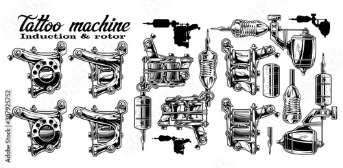 Obraz na plátně Graphic detailed black and white metal induction and rotor tattoo machines