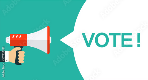 vote banner with loudspeaker vector illustration buy this stock vector and explore similar vectors at adobe stock adobe stock adobe stock