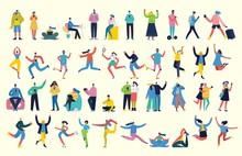 Bundle Of Cartoon Men And Women Performing Outdoor Activities On City Street. Flat Colorful Vector Illustration People Walking,standing, Talking, Running, Jumping, Sitting, Dancing