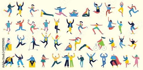Fototapeta Vector illustration in a flat style of different activities people jumping, with smarthones, travel, dancing, walking, business, couple in love, doing sport, have party obraz