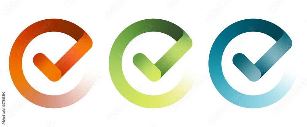 Fototapeta Set of check mark icon. Vector illustration