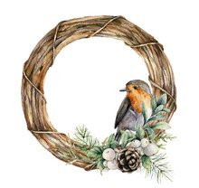 Watercolor Christmas Wreath With Robin And Pine Cones. Hand Painted Bird, Fir Branches, Berries And Coniferous Isolated On White Background. Holiday Wildlife Symbol For Design, Print Or Background.