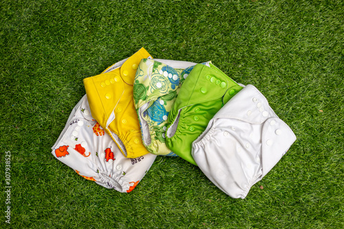 Photographie Stack of colorful cloth diapers for baby