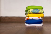 Stack Of Colorful Cloth Diaper...