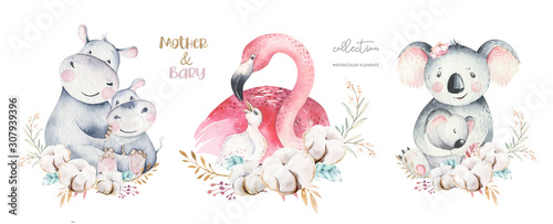 Fotografie, Obraz Watercolor cute cartoon illustration with cute mommy flamingo and baby, flower leaves