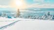 Leinwanddruck Bild - Stunning panorama of snowy landscape in winter in Black Forest - winter wonderland