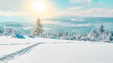 Fototapeta  - Stunning panorama of snowy landscape in winter in Black Forest - winter wonderland