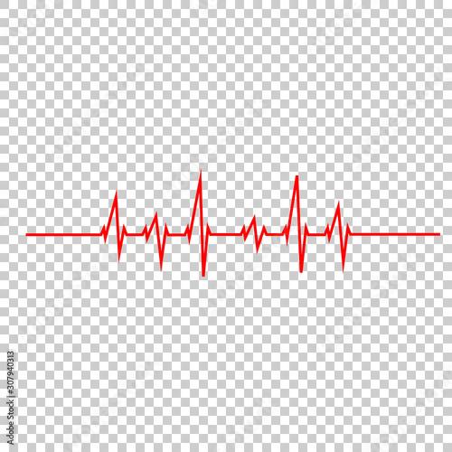 Photo vector illustration heart beat rhythm on a white background