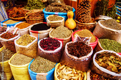 Traditional  spices and herbs on a market in Morocco. Wallpaper Mural