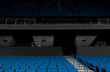 Sport stadium chair rows in Classic Blue Pantone color of the year 2020.