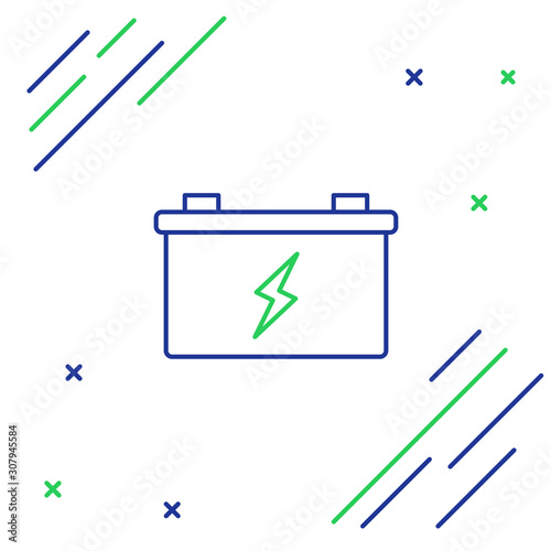 Photo Blue and green line Car battery icon isolated on white background