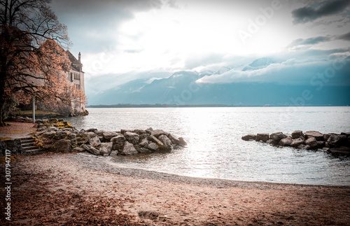 castle pictures front a lake Wallpaper Mural