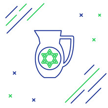 Blue And Green Line Decanter With Star Of David Icon Isolated On White Background. Pottery Jug. Organic Product In Carafe. Colorful Outline Concept. Vector Illustration