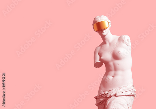 3D Model Aphrodite With Golden VR Glasses Over Pink Background. Fototapete