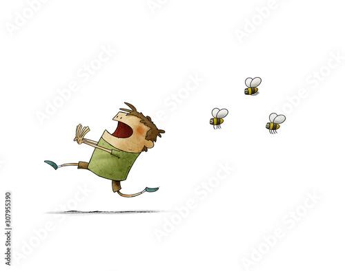 Carta da parati Child runs scared because three bees chase him. isolated