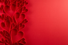 Red Paper Hearts On Red Paper ...