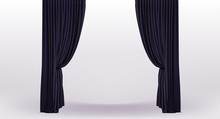 Background With Luxury Black Curtains With Holder And Draperies
