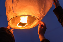 Sky Lantern Being Released Int...