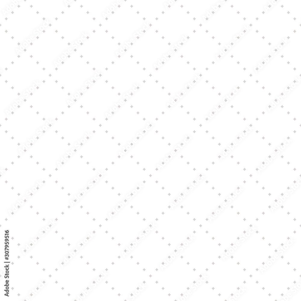 Vector subtle seamless pattern with tiny star shapes in square grid. Abstract geometric texture in soft pastel colors, white and beige gray. Minimalist background. Design for decor, print, fabric, web
