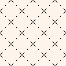 Minimalist Floral Seamless Pattern. Simple Vector Black And White Abstract Geometric Background With Small Flowers, Crosses, Tiny Stars, Grid. Subtle Minimal Monochrome Ornament Texture. Repeat Design