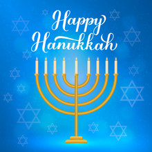 Happy Hanukkah Calligraphy Hand Lettering And Gold Menorah Candles On Blue Background. Jewish Holiday Festival Of Lights. Vector Template For Banner, Poster, Greeting Card, Invitation, Flyer, Postcard