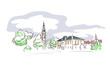 Klagenfurt Austria Europe vector sketch city illustration line art