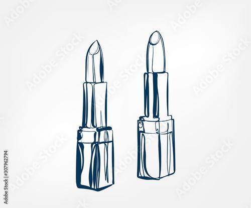 Canvastavla lipstick line art sketch outline isolated design element cosmetics vector