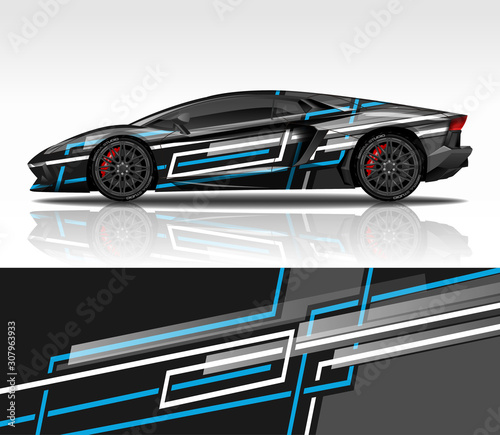 фотография Car wrap decal design vector, for Lamborghini Aventador, advertising or custom livery WRC style, race rally car vehicle sticker and tinting custom