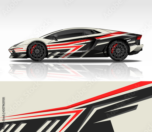 Photo Car wrap decal design vector, for Lamborghini Aventador, advertising or custom livery WRC style, race rally car vehicle sticker and tinting custom