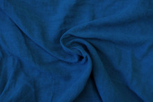 Crumpled Blue Fabric Texture Close Up. Trendy Tone Of 2020 Classic Blue Color