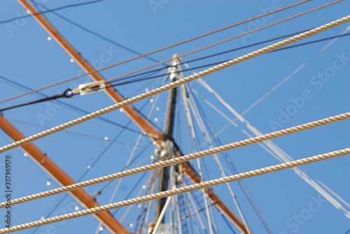 Rigging from a classic historic sailboat. © Kirk