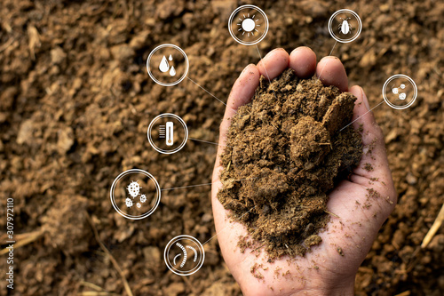 Photo Dung or manure with technology, icons about decomposition become soil around