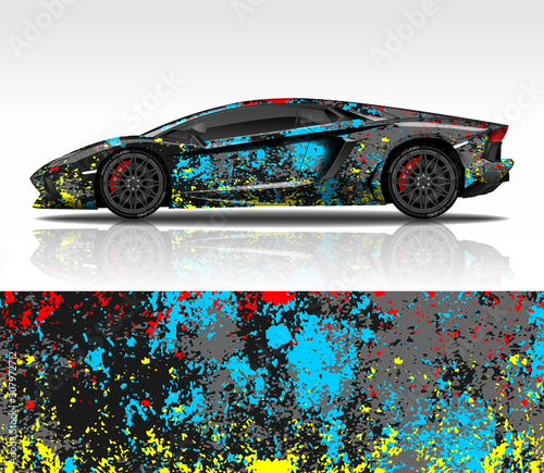 Car wrap decal design vector, for Lamborghini Aventador, advertising or custom livery WRC style, race rally car vehicle sticker and tinting custom Canvas Print